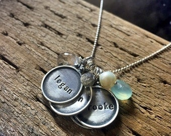 Every Disc Has A Story ------ FOUR discs -- Personalized your one of a kind necklace - hand stamped by SimaG
