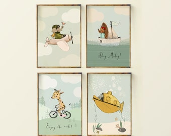 Airplaine - boat - bike - submarine - Boy Art -Nursery boy Art set - Nursery Decor Boy - Transportation art Art - Art Boys Room