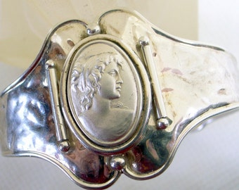 Vintage Silver Cameo Bracelet,Sterling Cuff Bracelet,Handmade,signed,Italy