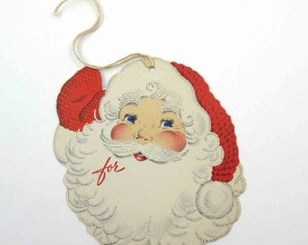 Vintage Unused Norcross Christmas String Tag or Card with Santa Claus Face Yarn Cap