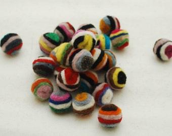1.5cm - 100% Wool Felt Balls - 20 Count - Assorted Striped Felt Balls