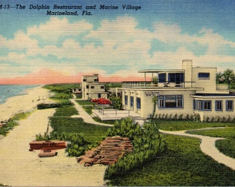 Streamline Moderne ART MODERNE Dolphine Restaurant 1930s Marineland FLA Colored Linen Postcard