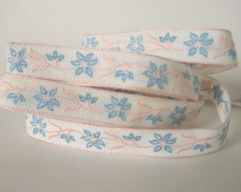 """2 yards 19""""  Bavarian DELICATE FLORALS Jacquard trim with blue and pink flowers on white. 5/8 inch wide. V738-A Free Shipping"""