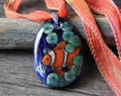 Clown fish in the ocean fused glass pendant