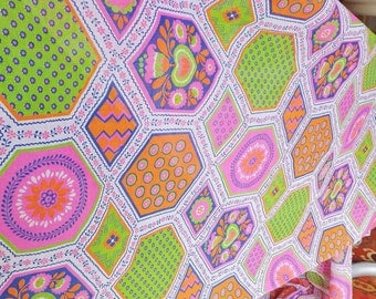 Vintage 1960's Neon Fabric Semi Sheer Printed Cotton 60's Mid Century Floral Fabric Retro Hexagon Neon Pink Neon Orange Neon Green Fabric