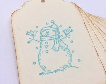 Handmade Gift Tags - Stamped Snowman Winter Gift Wrap