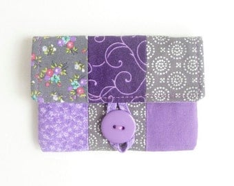 purple grey credit card case. lavender fabric women card holder. patchwork business card pouch. small gift