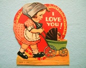 Vintage Valentine's Day Card Girl with Baby Carriage