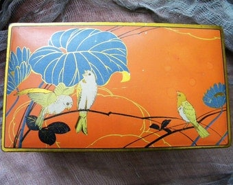 Vintage Canco Tin Litho Candy Box Container with Birds
