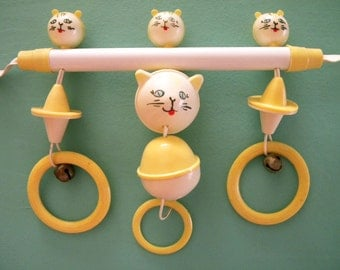 Vintage 1940's Crib Toy Celluloid or Early Plastic Kitty Cat Baby Rattle Bells