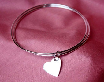 Twin Sterling Silver Bangles with Heart