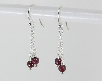 Petite Garnet and Sterling Silver Chain Earrings