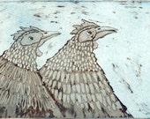 Hens, etching, hen print, chicken print, bird print, blue and gray print, animal print, farm animal print, printmaking,
