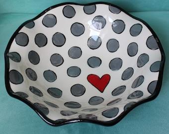 hand painted pottery, ruffled bowl, heart, dots