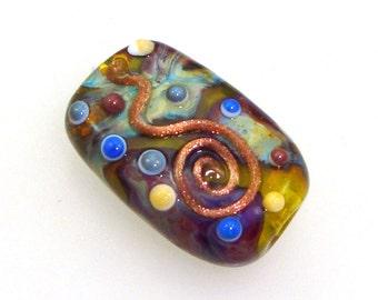 Handmade Lampwork Bead Focal - Helen! Silver glass shards, goldstone spirals, dots, on acid yellow.