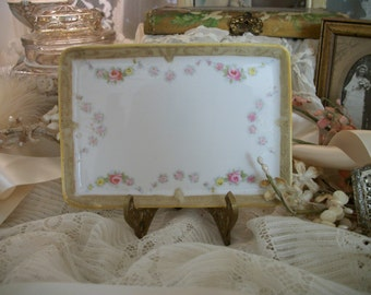 antique nippon pink roses hand painted petite perfume tray, rose swags, morimura brothers, japan. delicate porcelain, shabby cottage chic