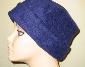 FREE SHIP USA Navy Blue  Anti Pill Fleece Pillbox Hat, Winter Hat, Cancer, Chemo Hat, Warm Hat