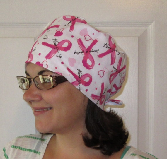 Scrub Cap BC Words OR Cap Nurses Cap Surgical Cap Chemo Hat Free Ship USA Adjustable