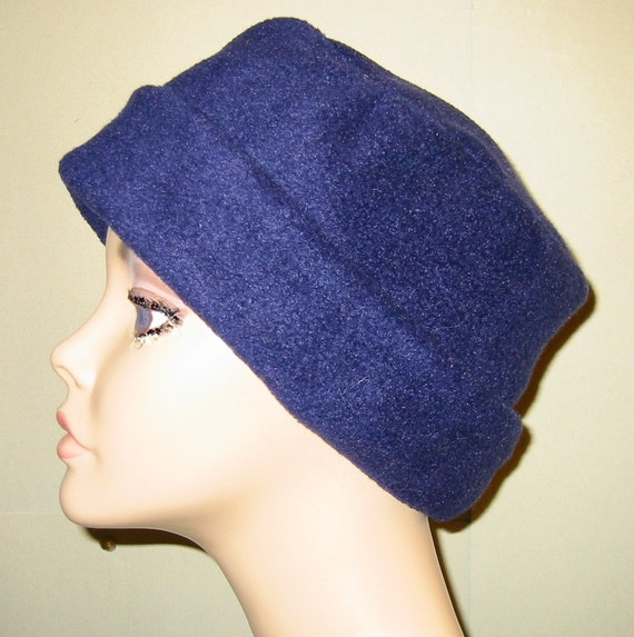 Navy Blue Anti Pill Fleece Pillbox Hat, Winter Hat, Cancer, Chemo Hat, Warm Hat