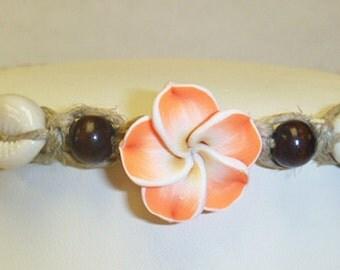 Flower Shells  Hemp Anklet Bracelet   handmade macrame jewelry  womens girls  hippie  beach