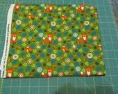 Sale Fabric Sale - 3/4 Yard - Green Leaves and Orange Fox Woodland - Quilting Cotton Destash
