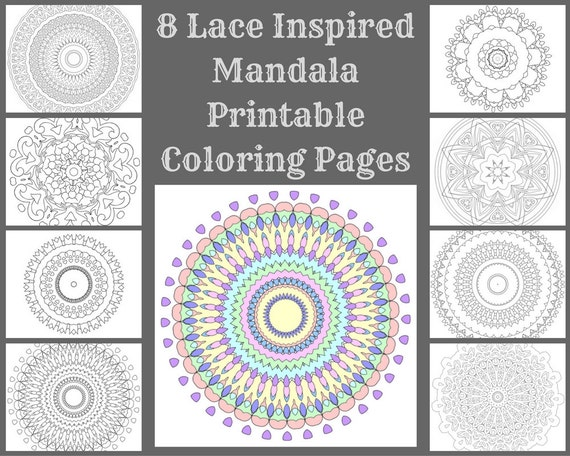 lace coloring pages - 8 lace inspired mandala printable coloring pages