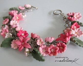 Pink Flower Bracelet, Handmade Polymer Clay Flower Bracelet, Pink Flower Jewelry, Pink  Flower Wedding, Pink Bridesmaid Charm Bracelet