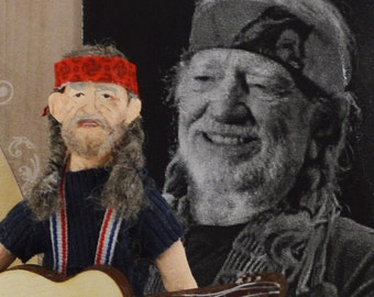 Willie Nelson Country Music Art Doll Miniature Fan Art Collectible Singing Star