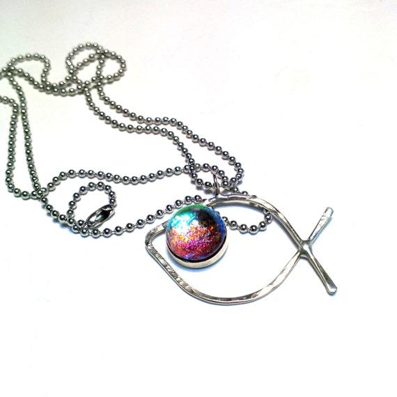 Minimalist fish necklace christian fish charm by mmartiniuk for Minimal art jewelry
