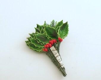 Vintage Holly Leaf Picks Corsage Stems Christmas Decorations