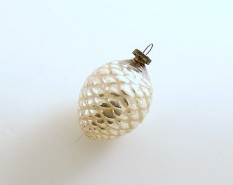 Vintage Christmas Ornament Silver Glass Pine Cone Christmas Decoration Feather Tree