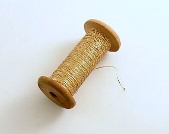 Vintage Gold Metallic Thread Wood Spool France