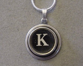 Typewriter key jewelry necklace BLACK LETTER K  Typewriter Key Necklace - Initial K serif font Initial Necklace K
