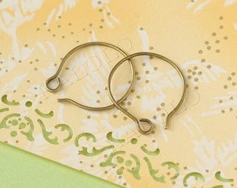 60pcs handmade bronze finish kidney round earwire ear hook 18mm (0237B)
