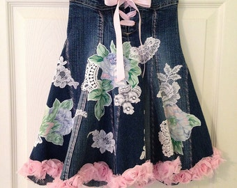 Recycled Denim and Lace Art Wear Maxi Skirt Girls Size 3-5