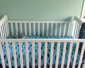 Sharks and Flags 3 Piece Baby Crib Bedding Set MADE TO ORDER