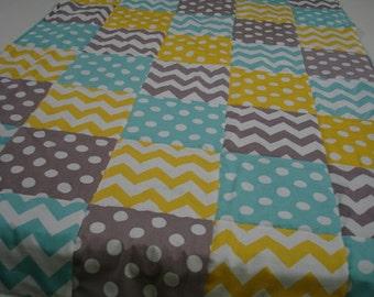 Yellow Aqua Gray Chevron and Dots  3 Piece Baby Crib Bedding Set MADE TO ORDER Free Shipping