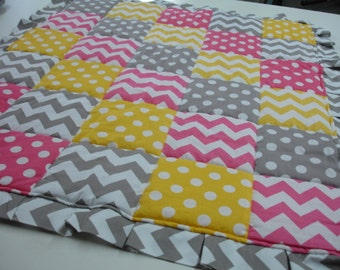Chevrons and Dots Hot Pink Yellow Gray Ruffled Minky Comforter Blanket 32 x 38 READY TO SHIP On Sale