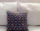 Vintage Bargello Needlepoint Mid Century Modern Decorative Pillow