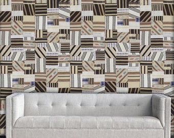 """Stripe Patchwork Easy Peel and Stick Wallpaper 8' Panel (96"""")"""
