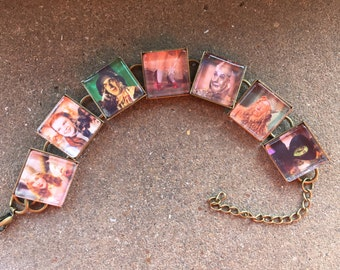 Wizard of Oz Characters Link Charm bracelet FREE US shipping