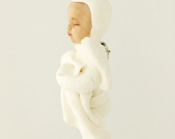 Snow Baby Boy Angel Ornament. keepsake ornament for memorial or angel collection. Christmas heirloom for child. Loss of child.