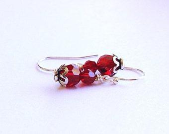 July birthstone jewelry  - ruby earrings - July Birthday gift ideas - siam earrings - red crystal earrings - gifts for her