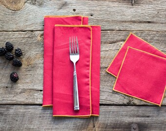 Red Linen with Orange Edge, Cloth Napkins and Coasters, 100% linen