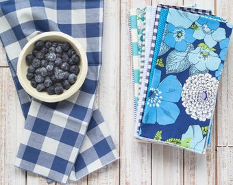 Color Block Bundle in Blue- 10 Cloth Napkins-  FREE SHIPPING