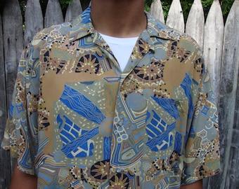 Rare Mondo di Marco Abstract Mod Shirt Atomic Rockabilly Rayon Print Collared Retro Menswear Short Sleeve Button Up Italy Gift idea XL  52