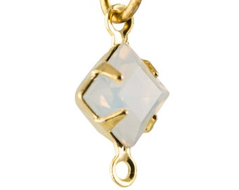 White Opal Faceted Square Glass Stones in 2 Loop Gold Setting 6mm squ006RR2