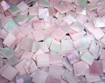 Mini Rose Pink Iridescent Stained Glass Mosaic Tiles