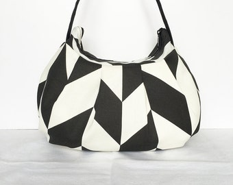 Pleated Bag // Shoulder Purse - Black and White Diamond