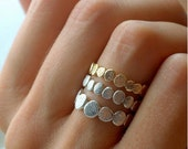 Valentines Day Sale 14k Gold and Sterling Silver Pebble Stacking Rings Set| Nature Inspired Rings